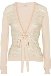 Valentino Lace Trimmed Knitted Cardigan Pink