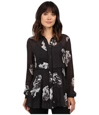 Ellen Tracy Button Front Tunic Tailored Combo Women's Clothing Black