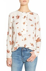 Women's Hinge Print Button Placket Top Ivory Rust Floral Fauna