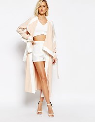 Lavish Alice Waterfall Belted Coat With Contrast Trim Blush