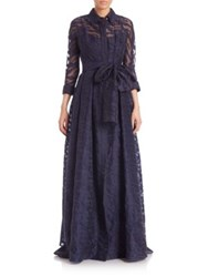 Rickie Freeman For Teri Jon Collared Tie Waist Gown Navy