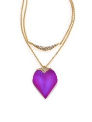 Alexis Bittar Pop Surrealist Lucite And Crystal Two Tier Pendant Necklace Gold Purple