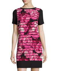 Marc New York By Andrew Marc Striped Floral Print Short Sleeve Dress Fuchsia