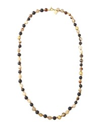 Haba Horn Bead Necklace 41'L Ashley Pittman Brown