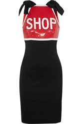 Moschino Sequin Embellished Stretch Satin Mini Dress Black