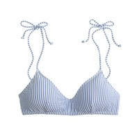 J.Crew Shoulder Tie French Bikini Top In Seersucker Blue