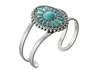 Lucky Brand Floral And Turquoise Cuff Bracelet Silver Bracelet
