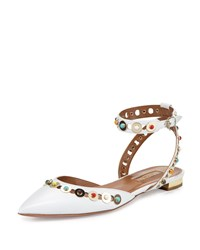 Aquazzura Byzantine Studded Leather Flat White Multi White Multi