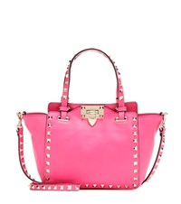 Valentino Rockstud Leather Tote Pink