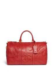 Wgaca Vintage Chanel Large Caviar Leather Boston Duffle Bag Red