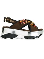 Marni Embellished Crossover Platform Sandals Brown