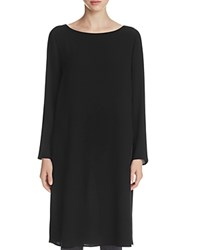 Eileen Fisher Petites Boat Neck Silk Tunic Black