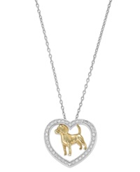 Macy's Aspca Tender Voices Diamond Dog Heart Pendant Necklace In 10K Gold Plated Sterling Silver 1 6 Ct. T.W.
