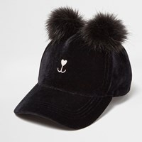 River Island Womens Black Pom Pom Kitty Cap