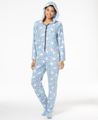 Hello Kitty Cute And Cozy Hooded Footed Jumpsuit Blue Leopard