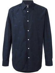 Vivienne Westwood Man Logo Print Button Down Shirt Blue