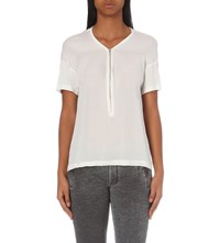 The Kooples Zip Fastened Silk And Jersey T Shirt White