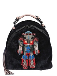 Msgm Faux Fur Robot Backpack