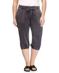 Andrew Marc New York Cropped Drawstring Jogger Pants Smoke
