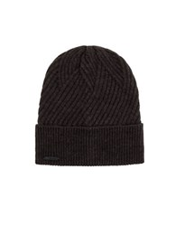 Calvin Klein Rib Fold Up Cuff Hat Charcoal