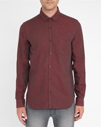 M.Studio Red Norman Thick Twill Two Tone Brushed Cotton Slim Fit Shirt