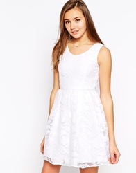 Yumi Skater Dress With Sheer Floral Overlay White