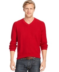 Izod Allover Links V Neck Fine Gauge Sweater Jester Red