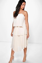 Boohoo Ruffle Chiffon Strappy Midi Dress Cream