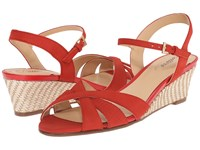 Trotters Mickey Red Diamond Perf Nubuck Leather Smooth Nubuck Leather Women's Wedge Shoes Orange