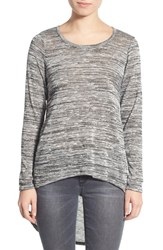 Junior Women's Living Doll Space Dye High Low Sweater Grey