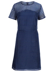 Sugarhill Boutique Stripe Organza Dress Navy