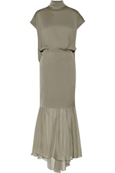By Malene Birger Ambrianna Cape Back Satin And Chiffon Gown