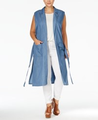 Stoosh Plus Size Open Front Denim Vest Chambray