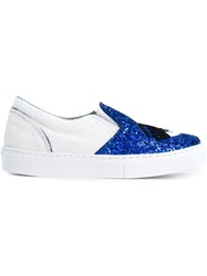 Chiara Ferragni 'Flirting' Glitter Slip On Sneakers Blue