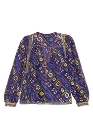 Isabel Marant Tyron Printed Silk Top Blue Multi