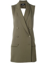 Versus Double Breasted Sleeveless Dress Green