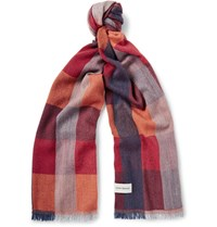 Oliver Spencer Checked Virgin Wool Blend Scarf Claret