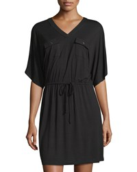 Neiman Marcus Dolman Sleeve Military Style Jersey Dress Black