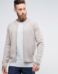 Asos Knitted Bomber Jacket In Wool Mix Oatmeal Beige