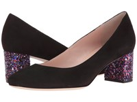 Kate Spade Dolores Black Kid Suede Purple Glitter Heel