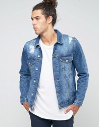 Asos Denim Jacket In Mid Blue With Rips Blue