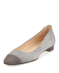 Lee Stingray Cap Toe Ballet Flat Gray Manolo Blahnik
