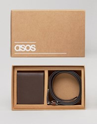 Asos Gift Set With Leather Wallet And Belt Brown