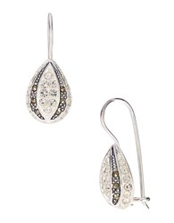 Lord And Taylor Sterling Silver Marcasite Teardrop Earrings Crystal Silver
