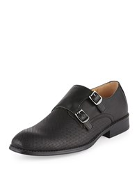Neiman Marcus Logan Double Monk Perforated Leather Loafer Black