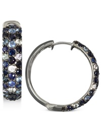 Effy Collection Saph Splash By Effy Multicolor Sapphire Large Hoop Earrings 4 Ct. T.W. In Sterling Silver