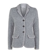 Lamberto Losani Cashmere Blend Knit Button Jacket Female Blue