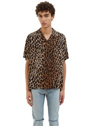 Saint Laurent Leopard Print Short Sleeved Shirt Brown