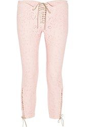 Isabel Marant Isola Broderie Anglaise Denim Skinny Pants Pink