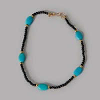 Debbie Fisher Black Onyx Gold And Turquoise Bracelet